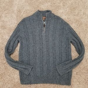 Mens gray quarter zip sweater
